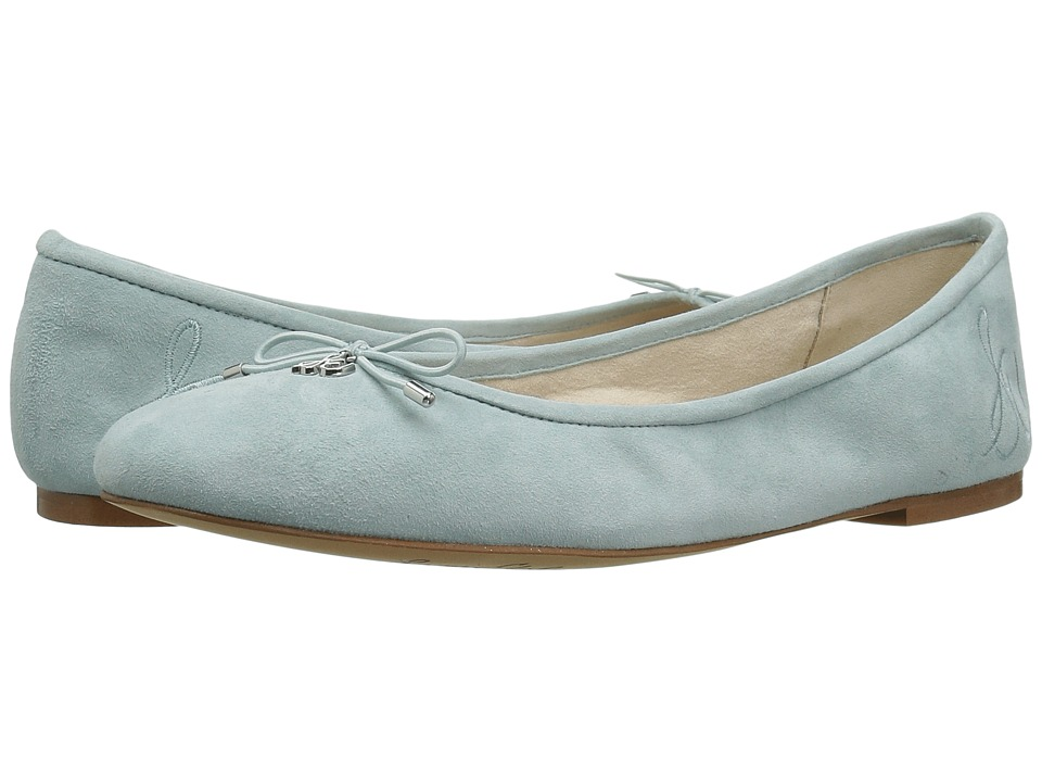 Retro Vintage Flats and Low Heel Shoes Sam Edelman - Felicia Amalfi Blue Kid Suede Leather Womens Flat Shoes $99.95 AT vintagedancer.com