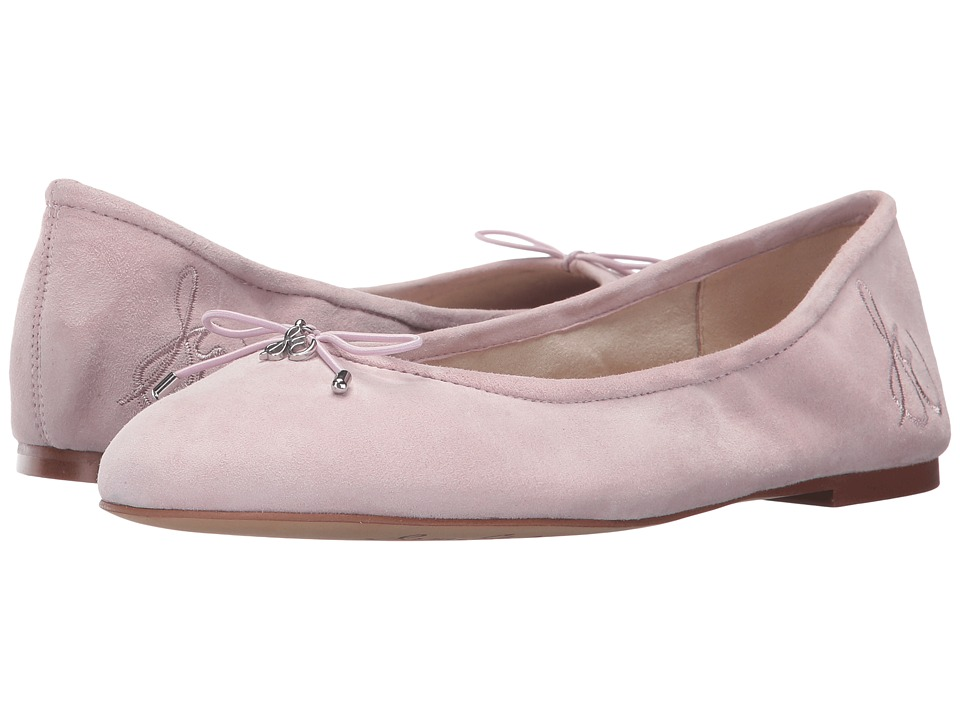 Retro Vintage Flats and Low Heel Shoes Sam Edelman - Felicia Pearl Pink Kid Suede Leather Womens Flat Shoes $99.95 AT vintagedancer.com