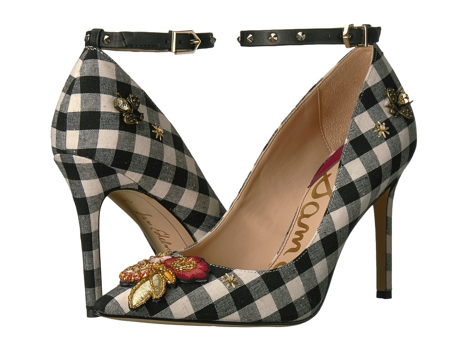 Vintage Style Shoes, Vintage Inspired Shoes Sam Edelman - Hermione 3 BlackWhite Gingham WeaveJeweled Floral Patch Womens Shoes $150.00 AT vintagedancer.com
