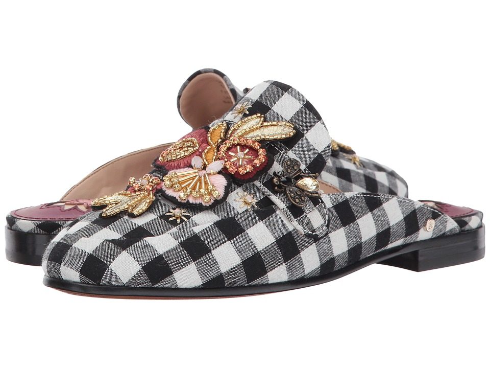 Sam Edelman - Pemberly 2 (Black/White Gingham Weave/Jeweled Floral Patch) Womens Shoes