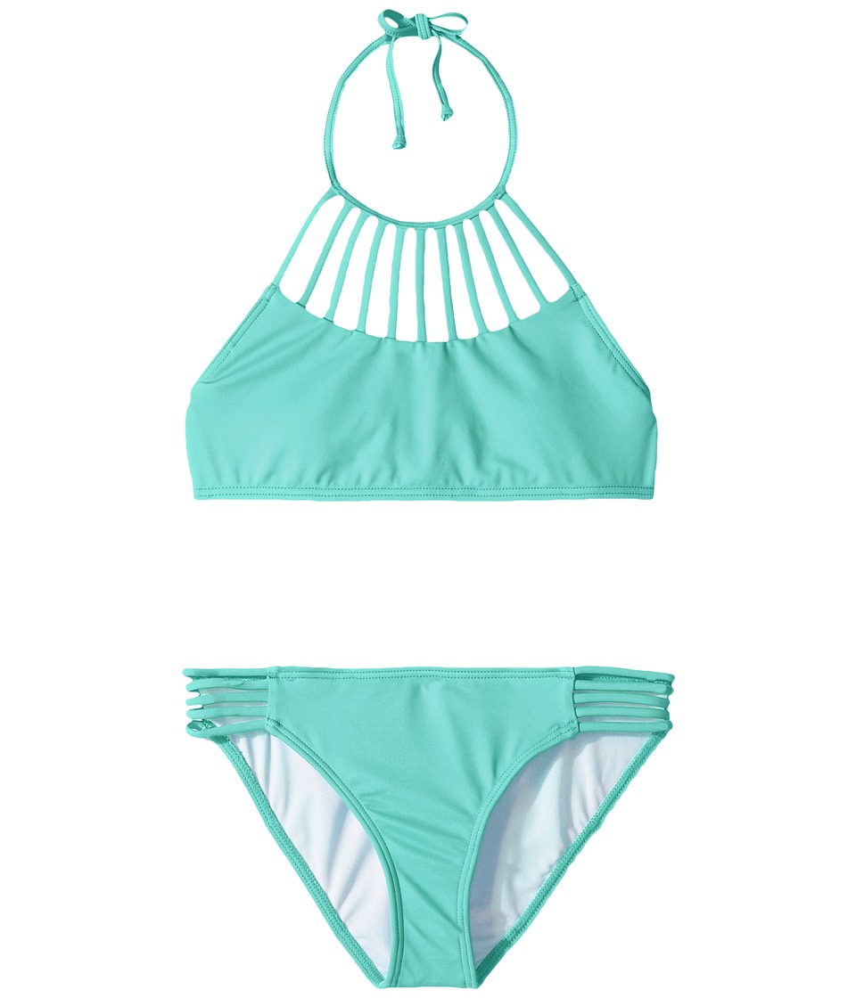 Billabong Kids Sol Searcher High Neck Set (Little Kids/Big Kids) (Tiki Turquoise) Girl