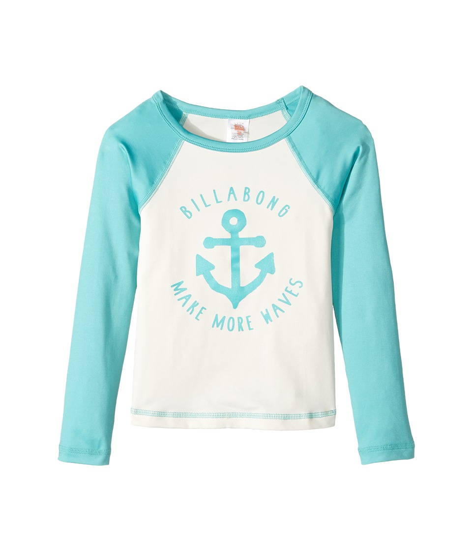 Billabong Kids Sol Searcher Long Sleeve Rashguard (Little Kids/Big Kids) (Tiki Turquoise) Girl