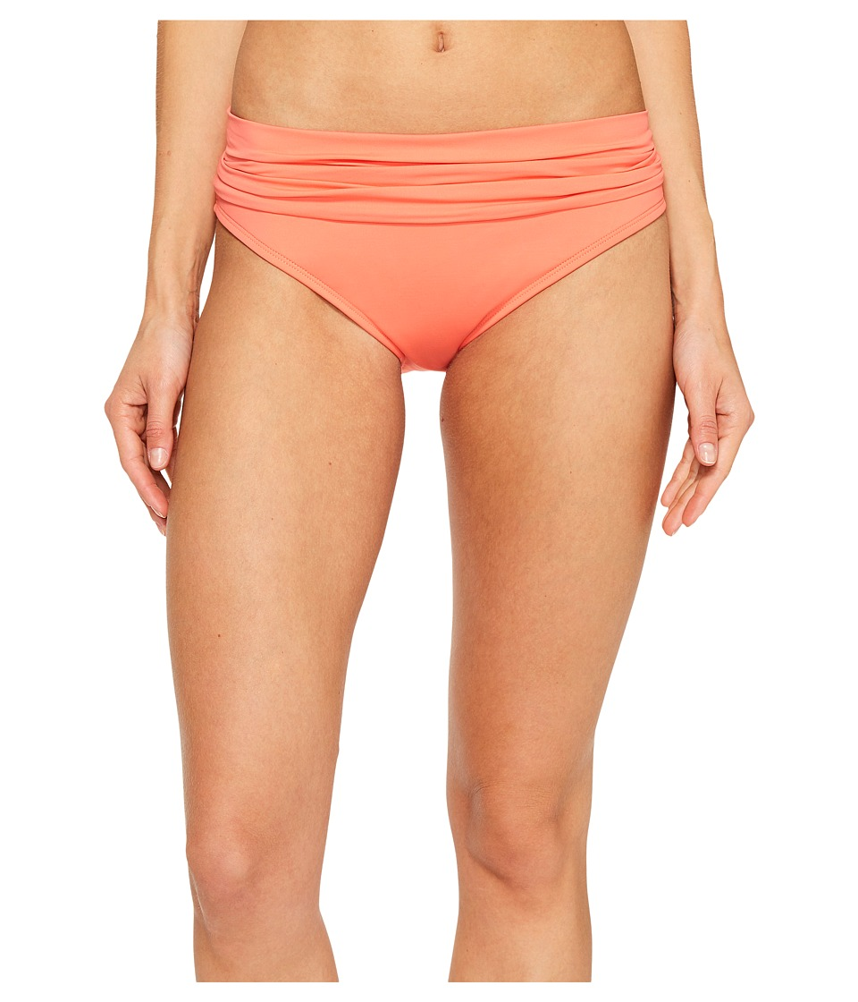 La Blanca Island Goddess Shirred Waist Hipster Bottom (Coral Reef) Women