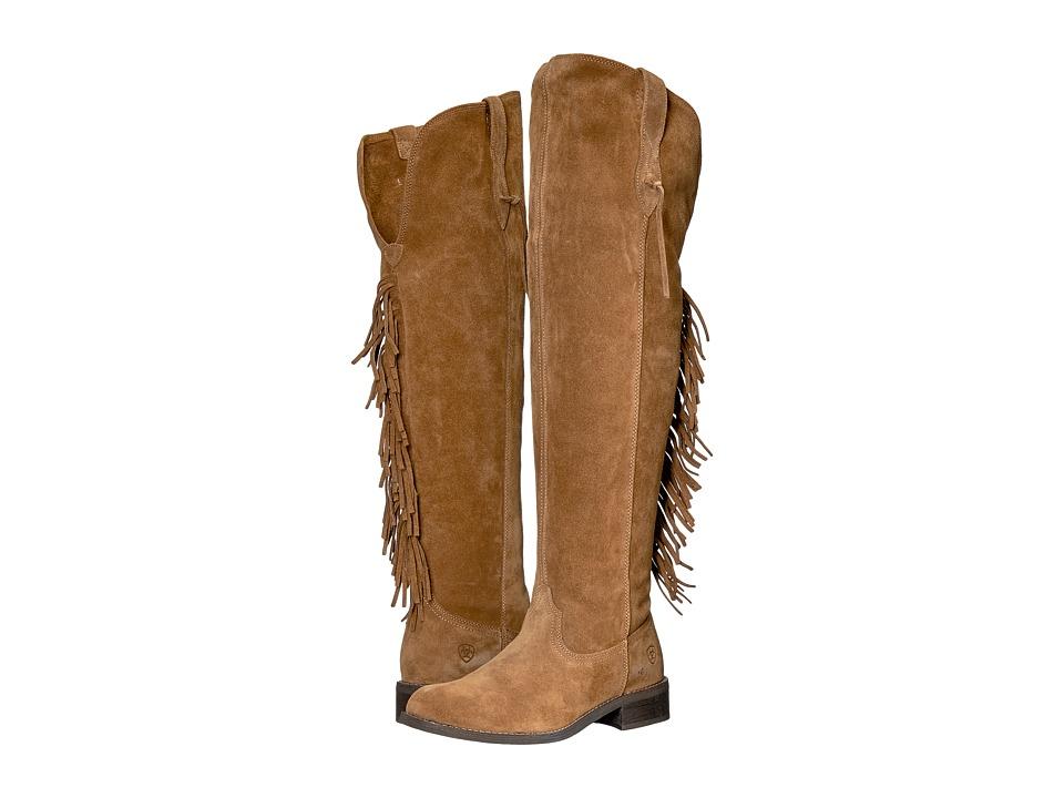 Ariat Farrah Fringe (Dirty Tan Suede) Cowboy Boots