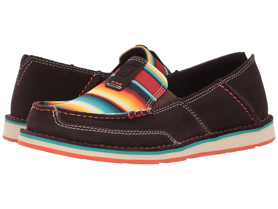Ariat Cruiser (Chocolate Fudge Suede/Red Serape Print) Slip-On Shoes