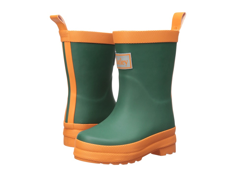 Hatley Kids Matte Finish Rain Boots (Toddler/Little Kid) (Hunter Green/Orange) Boys Shoes