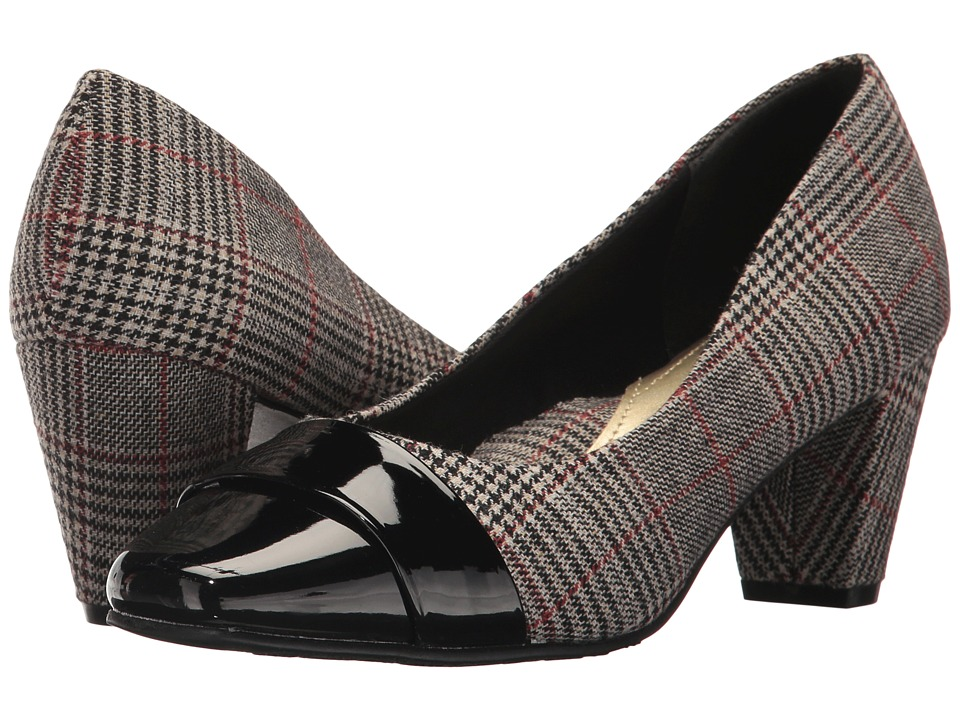 Soft Style Mabry (Black Plaid/Patent) Women