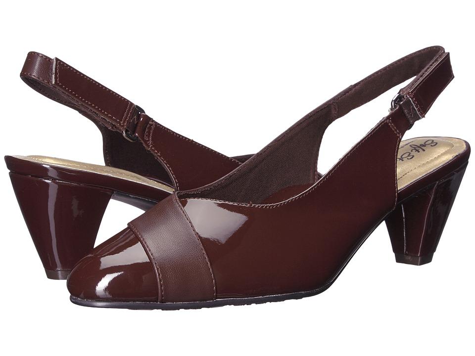 Soft Style Dagmar (Dark Brown Kid/Patent) Slingbacks