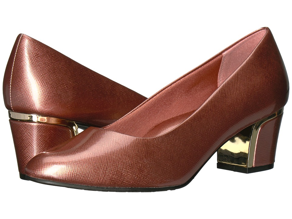 Soft Style Deanna (Antique Rose Cross Hatch Patent/Gold Heel) Women