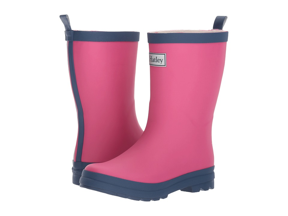 Hatley Kids Fuchsia Navy Rain Boots (Toddler/Little Kid) (Pink) Girls Shoes