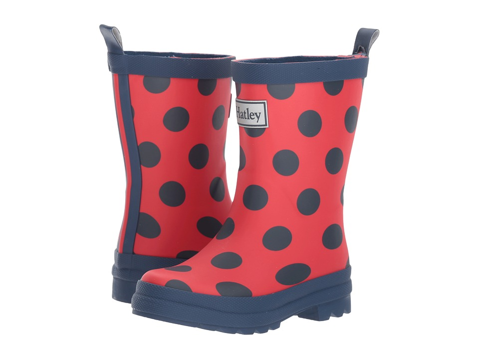 Hatley Kids Polka Dots on Red Rain Boots (Toddler/Little Kid) (Red) Girls Shoes