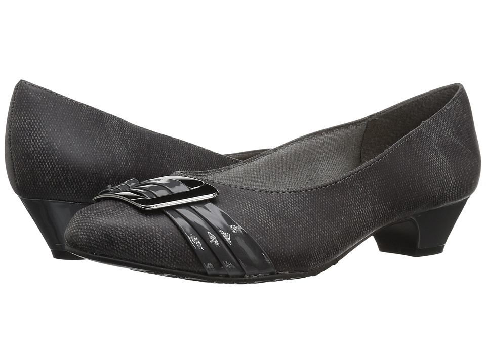 Soft Style Pleats Be With You (Dark Grey Faux Tweed/Patent) Women
