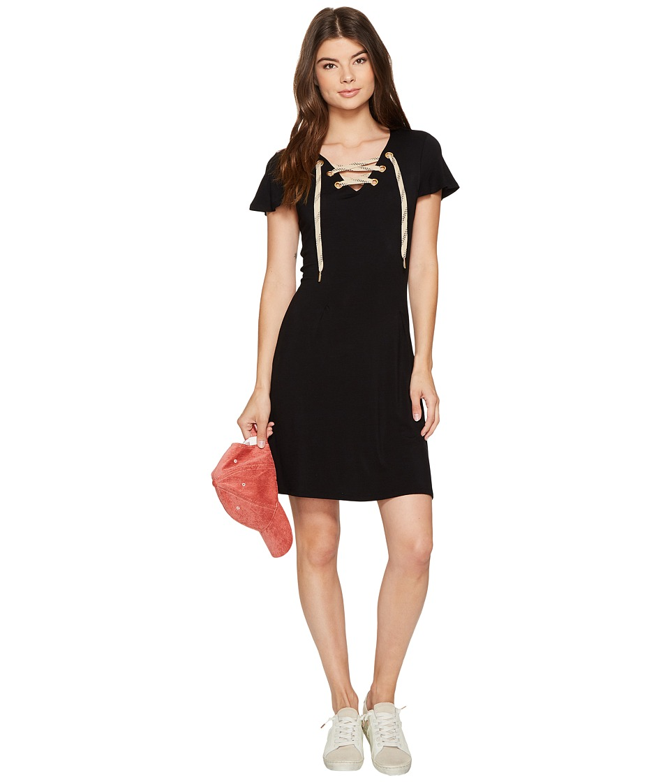 kensie Viscose Lace-Up Dress KS7K7987 (Black) Women