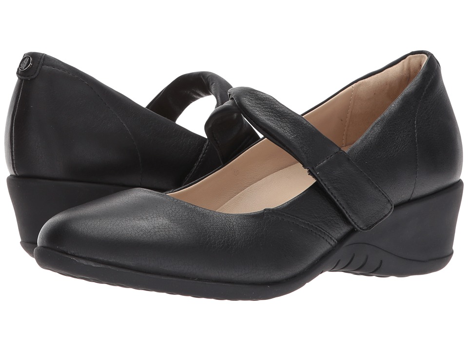 Hush Puppies Jaxine Odell (Black Leather) Women's Hook and Loop Shoes