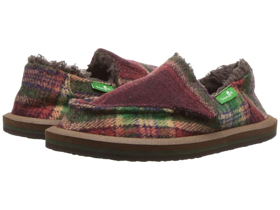 Sanuk Kids Vagabond Plaid Chill (Toddler/Little Kid) (Burgundy Plaid) Boy's Shoes