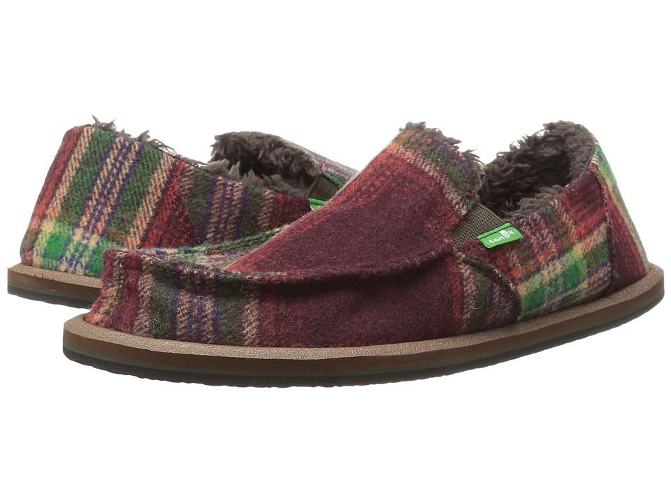 Sanuk Kids Vagabond Plaid Chill (Little Kid/Big Kid) (Burgundy Plaid) Boy's Shoes
