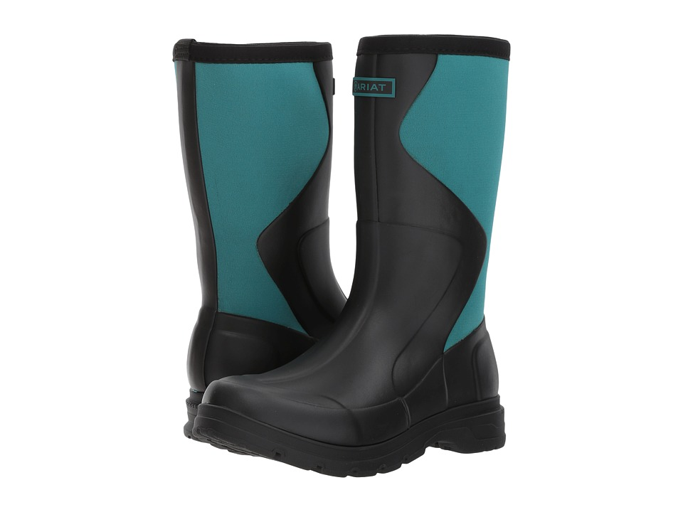 Ariat Springfield Rubber Boot (Black/Dusty Teal) Women's Waterproof Boots