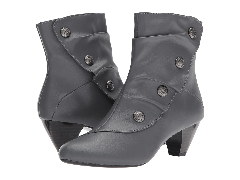 Ladies Victorian Boots & Shoes – Granny boots Soft Style - Gilnora Dark Grey Kid Womens Boots $69.00 AT vintagedancer.com