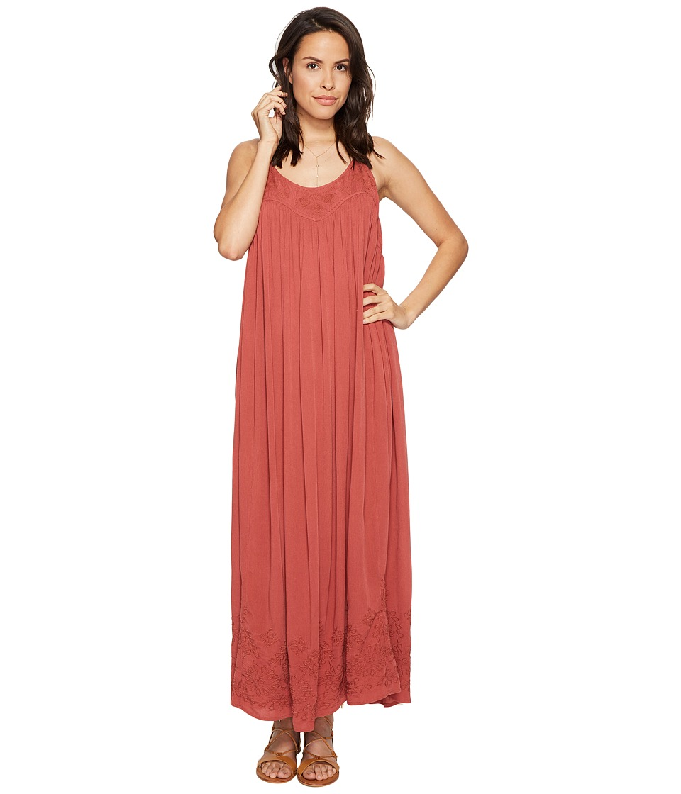 Free People Embroidered Elaine Maxi Slip (Terracotta) Women