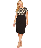 Adrianna Papell - Plus Size Sheath with Emblem Pattern Bodice