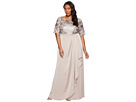 Plus Size Sequin Embroiderd Draped Gown with Elbow Sleeve