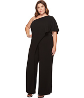 Adrianna Papell - Plus Size One Shoulder Flutter Sleeve Jumpsuit with Side Slit Leg