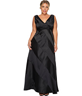 Adrianna Papell - Plus Size V-Neck Ball Gown with Diagonal Strip Detail