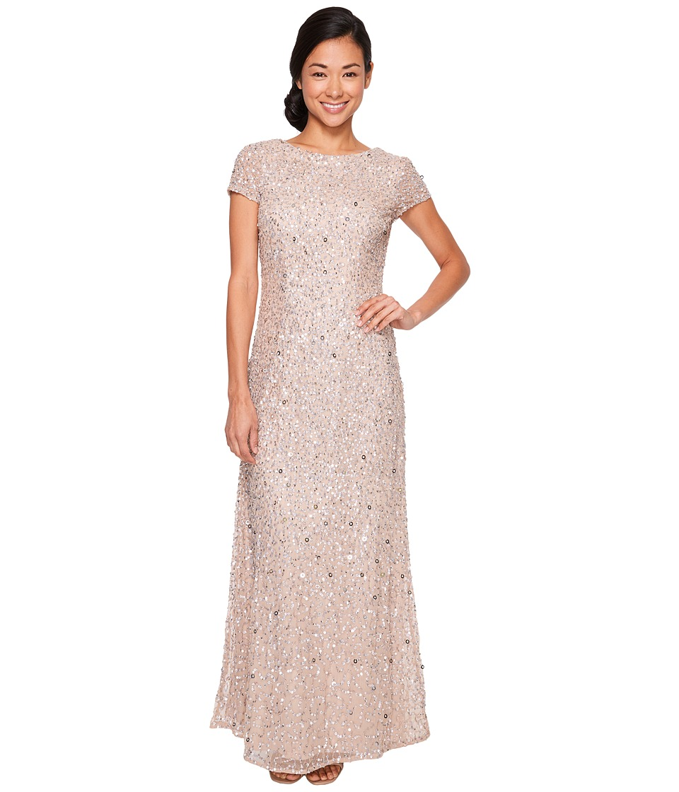 Adrianna Papell Petite Short Sleeve Scoop Back Long Beaded T-Shirt Gown (Champagne) Women