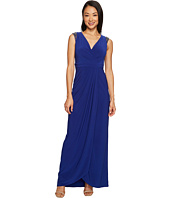 Adrianna Papell - Petite Wrap Front Jersey Gown with Bead Detail at the Shoulder