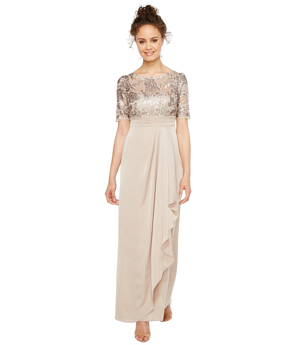 Adrianna Papell Petite Sequin Embroiderd Draped Gown with...