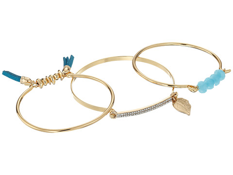 GUESS 3 Piece Mixed Bangle Set with Tassels, Stone and Charm