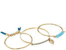 GUESS - 3 Piece Mixed Bangle Set with Tassels, Stone and Charm