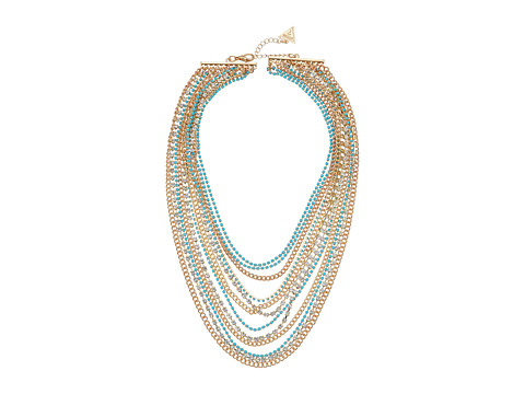 GUESS Multi Strand Mixed Chain Necklace - Gold/Crystal/Turquoise