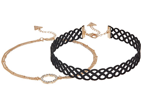 GUESS Figure 8 Choker and Pave Circle Necklace Set - Gold/Crystal/Jet