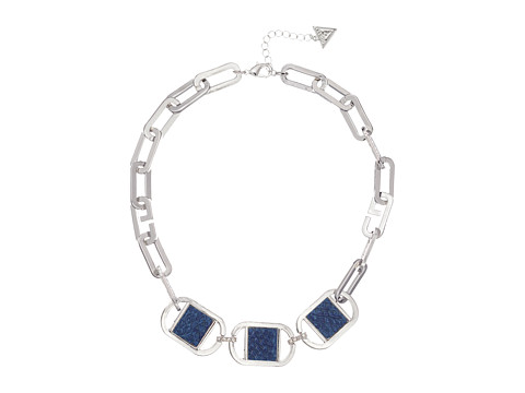 GUESS Link Necklace with Faux Python Accents - Silver/Crystal/Blue