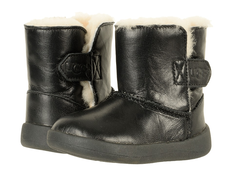 UGG Kids Keelan Leather (Infant/Toddler) (Black) Kids Shoes