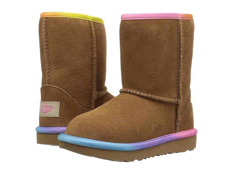 UGG Kids Classic Short II Rainbow (Toddler/Little Kid) (Chestnut) Girls Shoes
