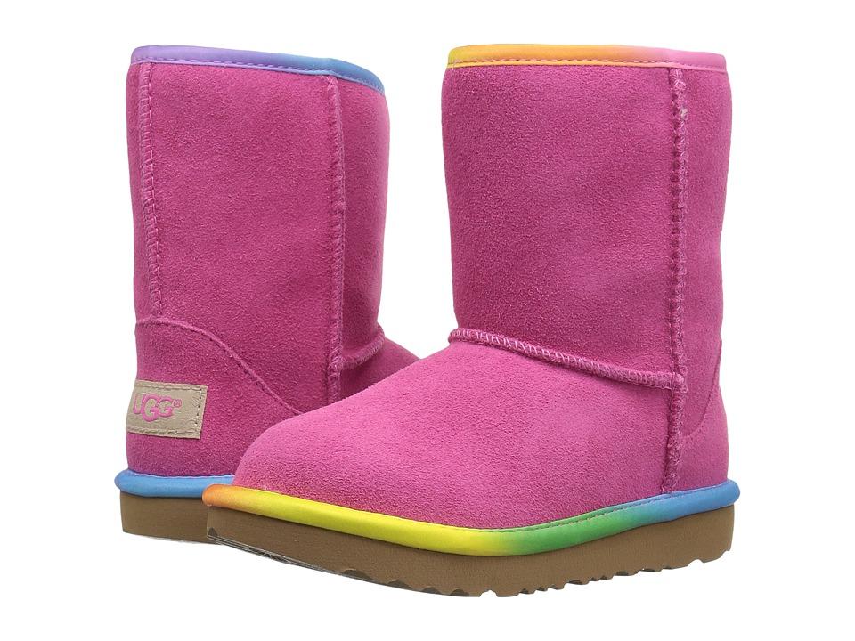 UGG Kids Classic Short II Rainbow (Toddler/Little Kid) (Pink Azalea) Girls Shoes