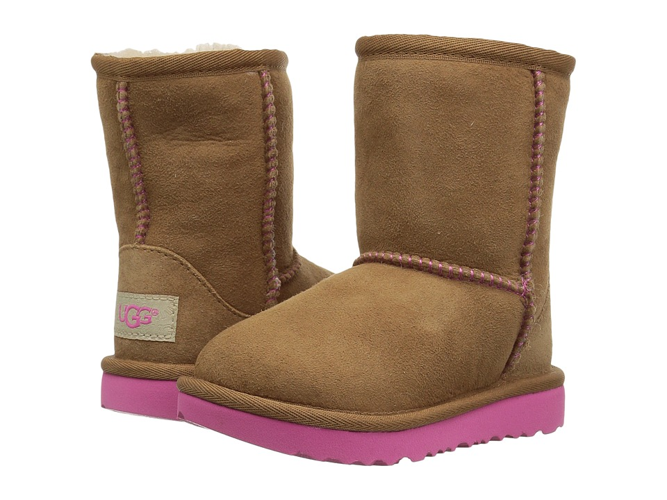 UGG Kids Classic II (Toddler/Little Kid) (Chestnut/Pink Azalea) Girls Shoes