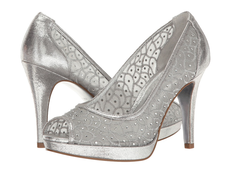 Vintage Wedding Shoes, Flats, Boots, Heels Adrianna Papell - Foxy Silver Sterling High Heels $97.99 AT vintagedancer.com