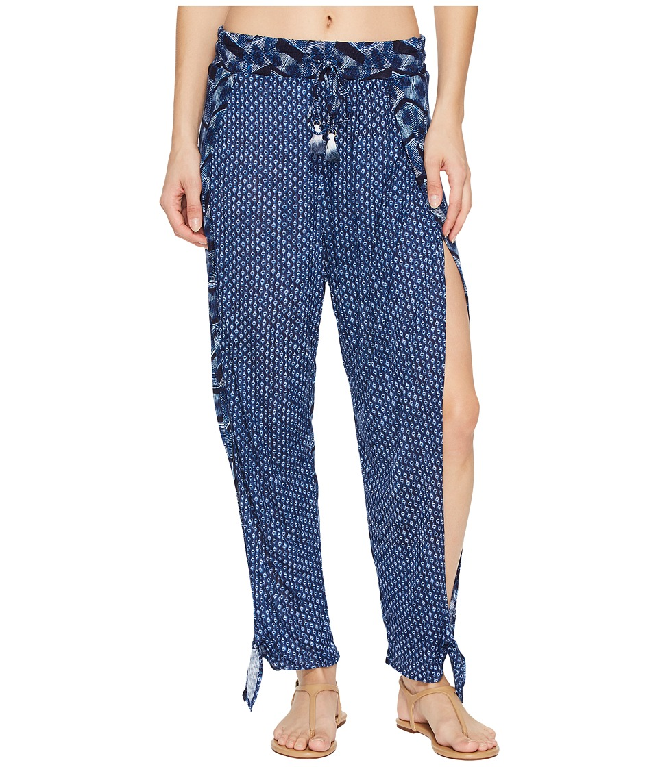 Lucky Brand Nomad Ikat Ankle Tie Pants Cover-Up (Navy)