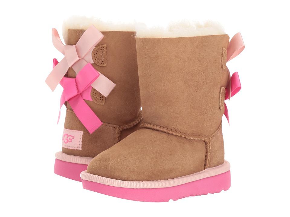 UGG Kids Bailey Bow II (Toddler/Little Kid) (Chestnut/Pink Azalea) Girls Shoes