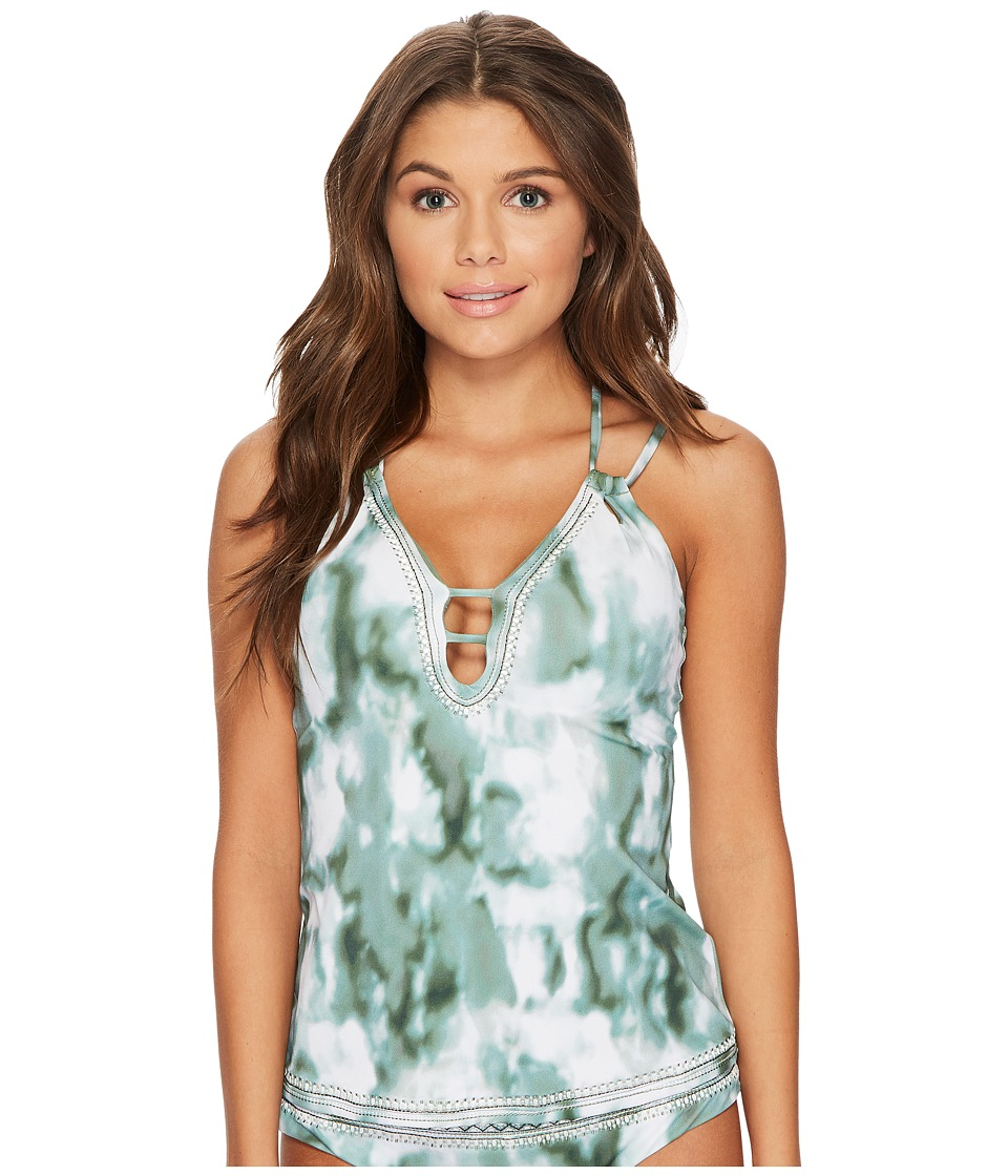 Lucky Brand Indian Summer Plunge Tankini Top (Olive) Women