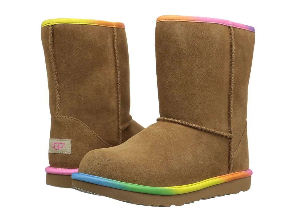 UGG Kids Classic Short II Rainbow (Little Kid/Big Kid) (Chestnut) Girls Shoes