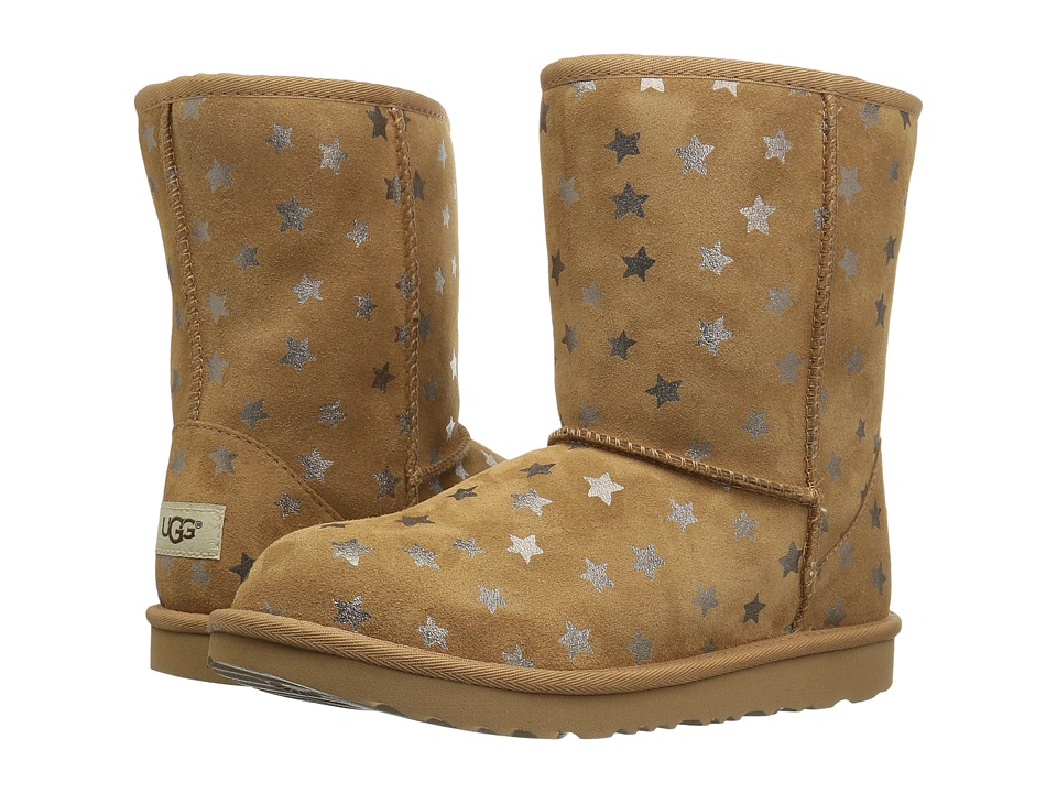UGG Kids Classic Short II Stars (Little Kid/Big Kid) (Chestnut) Girls Shoes