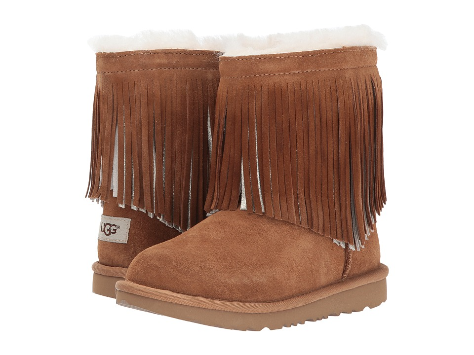 UGG Kids Classic Short II Fringe (Little Kid/Big Kid) (Chestnut) Girls Shoes