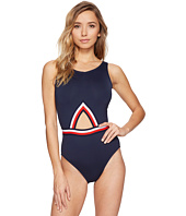 Tommy Hilfiger - Signature Stripe Mitered Elastic One-Piece