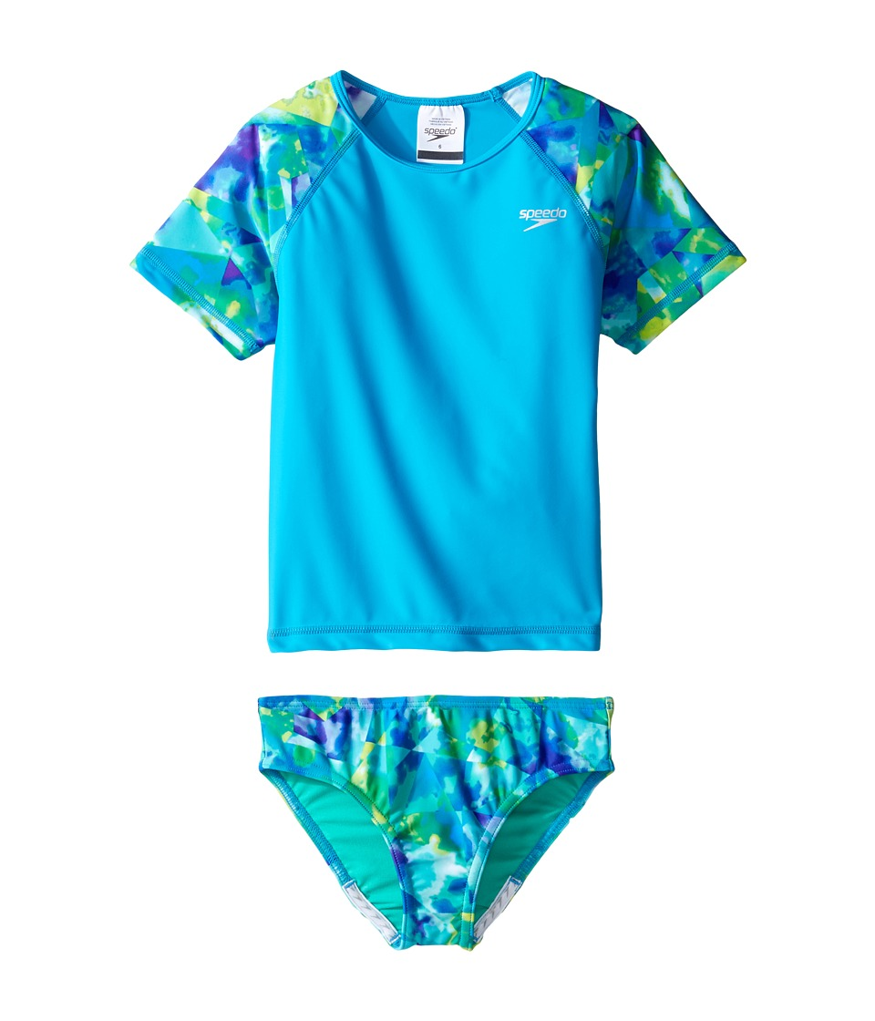 Speedo Kids Short Sleeve Printed Rashguard Two-Piece Swimsuit Set (Little Kids) (Cyan) Girl