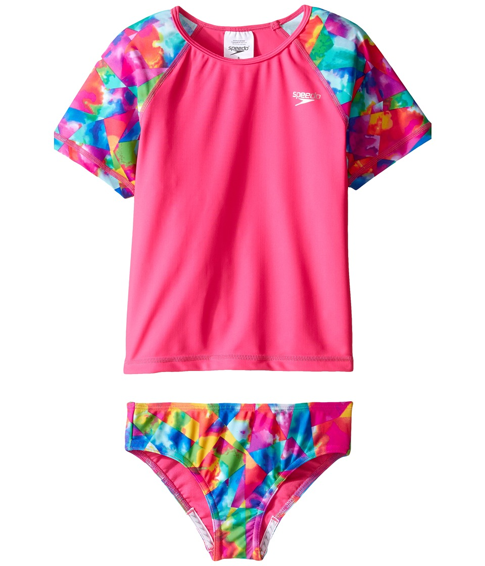 Speedo Kids Short Sleeve Printed Rashguard Two-Piece Swimsuit Set (Little Kids) (Electric Pink) Girl