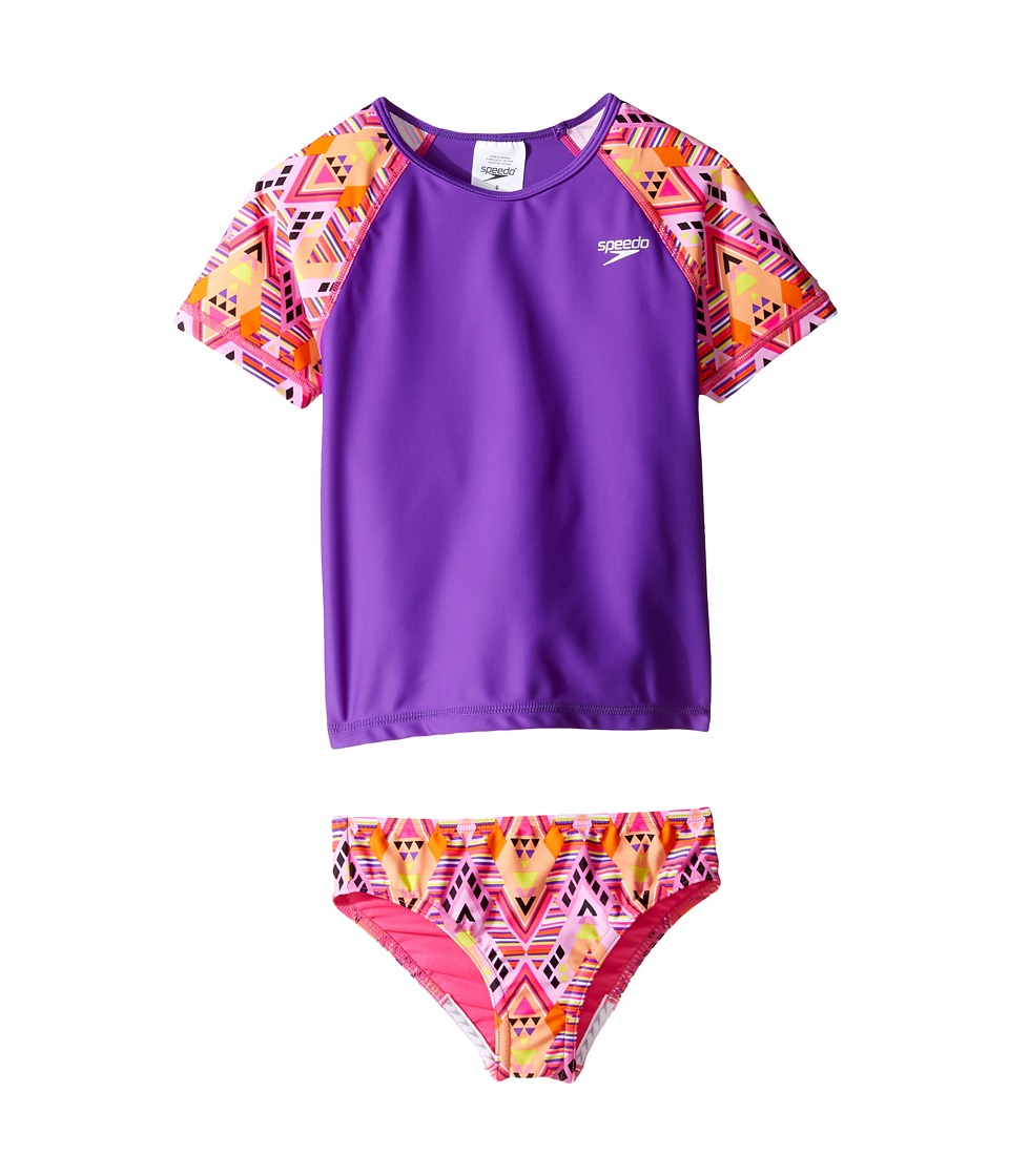Speedo Kids Short Sleeve Printed Rashguard Two-Piece Swimsuit Set (Little Kids) (Plumtastic) Girl